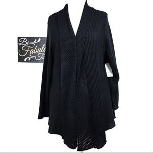 NWT Faded Glory Black Open Front Cardigan 4X